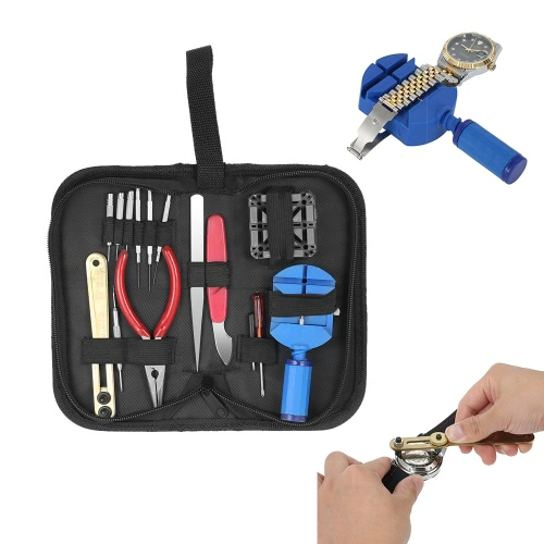 16 STÜCKE Professionelle Uhr Repair Tool Kit Fallöffner Band Link Pin Remover W / Schraubendreher Nadel Zange Uhrmacher Tool Set