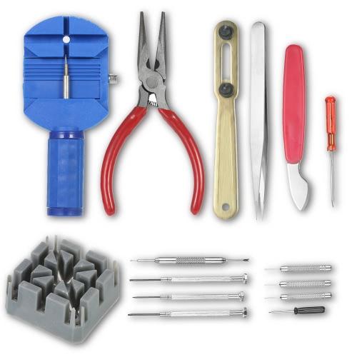 Kit de ferramentas de reparação de relógios profissionais 16PCS Caixa de abridor Band Link Pin Remover W / Screwdrivers Needle Nose Plier Watchmaker Tool Set