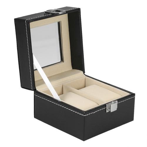 Luxus 2 Slot Watch Aufbewahrungsbox Organizer Glas Top PU Leder Uhr Display Fall Schmuck Schrank