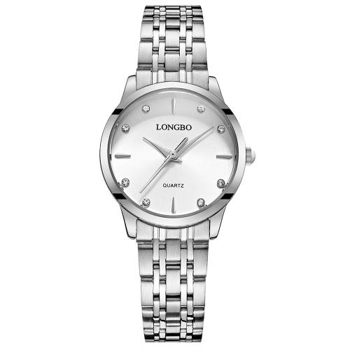 LONGBO Luksusowa diamentowa stali nierdzewnej pary zegarki Wodoodporny biznes zegarek na rękę dla kobiet Moda damska zegarek + pudełko
