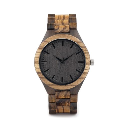 BOBOBIRD Moda simples Ebony Men Relógios Quartz Wooden Zebrawood Casual Wristwatch Homem
