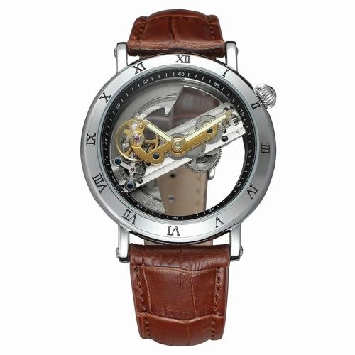 FORSINING Luxury Skeleton Automatic Mechanical Men Watch Automático Viento Acero Inoxidable / Cuero Genuino Hombre Business Reloj de Pulsera + Caja