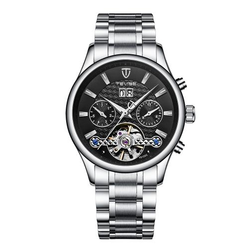 TEVISE Luminous Luxury reloj mecánico automático a prueba de agua hombres de acero inoxidable reloj de pulsera de negocios calendario / semana / mes + caja