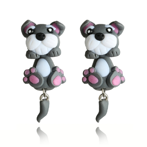 Fashion Cartoon Cute Pet Dog Earrings Hand-made Clay Ladies Personalized Earrings Jewelry
