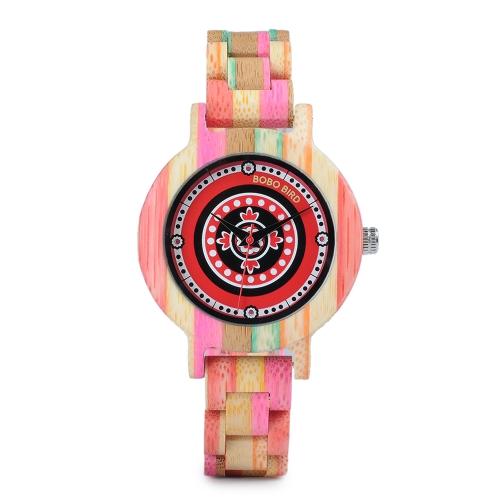 BOBO BIRD Moda Relógios de madeira de bambu para mulheres Quartz Mulheres de madeira coloridas Relógio de pulso Casual Melhor presente + Caixa