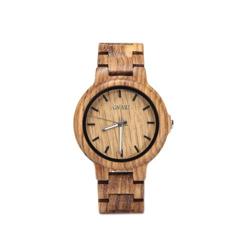 Reloj de pulsera de moda novedad reloj de madera natural Minimalista hombres genuinos hechos a mano con cierre de pulsera Relojes de cuarzo casual