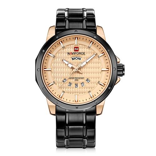 NAVIFORCE Fashion Luminous Quartz Men Relógio de pulso casual Relógio à prova de água com aço inoxidável Masculino Relogio + Box