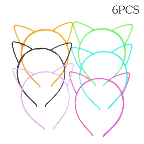 6pcs Assorted Colors Cat Ears Headbands Plastic Hairbands Hair Hoop Cute Hair Accessories Headwear for Women Girls