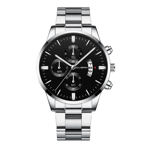 CUENA Men Stainless Steel Band Quartz Watch Fashion Simple Calendar Big Dial Wrist Watch