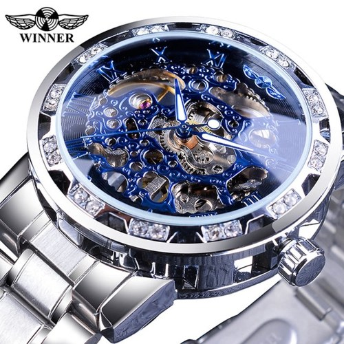WINNER Men Automatic Watch Fashion Diamond Display Luminous Hands Gear Movement Retro Mechanical Skeleton Watches Luxury Casual Business Wristwatch