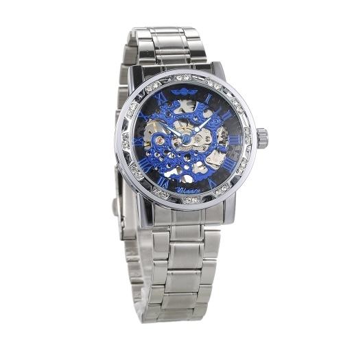 WINNER Men Automatic Watch Orologio Diamond Display Luminoso Mani Movimento a ingranaggi Retro meccanico Scheletro Orologi Luxury Casual Business Orologio da polso