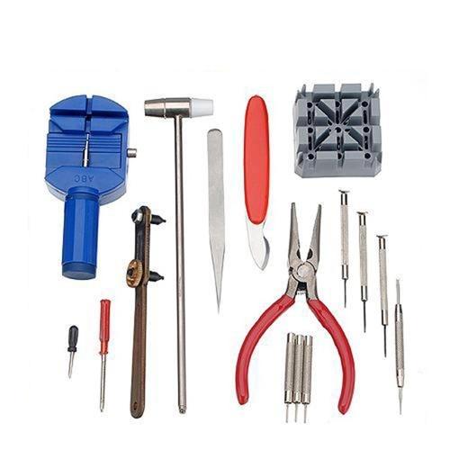 YD-008 16PCS Watch Repair Tool Kit Professional Case Opener Spring Bar Remover Screwdriver Wristwatch Repair Pin Strap Link Remover Watchmaker Tool with Hammer