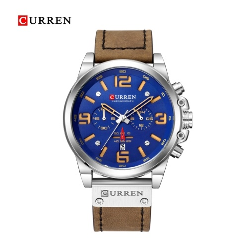 Curren Men Business Watch Fashion Six Watch Pin Alloy Case Leather Band Watch Calendar Waterproof Quartz Wrist Watch