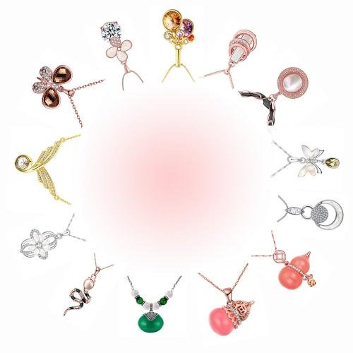 Viennois Vintage Antique Rhinestone Round Opal Pendant Necklace Women Fashion Jewelry Gift