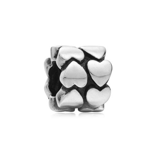 Romacci S925 plata corazón encanto grano para cadena de la serpiente de 3mm DIY pulsera brazalete collar moda mujer joyas accesorio