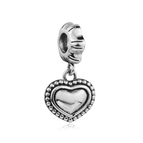 Romacci S925 plata corazón cuelgan colgante grano encanto europeo para 3mm serpiente cadena pulsera brazalete collar accesorio de la joyería DIY mujeres finas