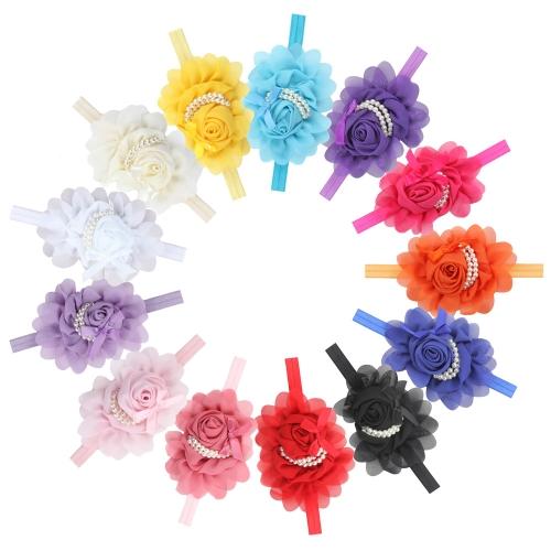 13 Pcs Lovely Baby Girls Rose Flower Headband com camadas duplas de grânulos Fotografia Hairband Headwear Acessórios para bebês