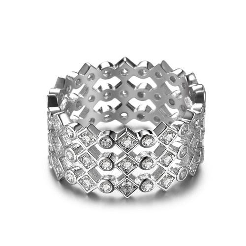 JURE 925 Sterlingsilber-Ring runde weiße Zirkonia Hochzeit Verlobungsring Vorschlag Braut Halo Ersatz