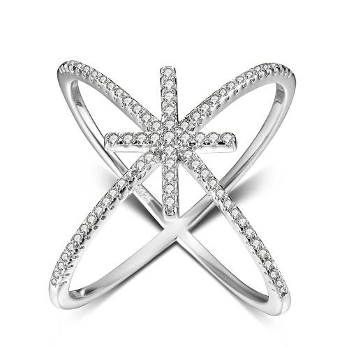 JURE 925 Sterlingsilber-Ring Zirkonia Hochzeit Verlobungsring Vorschlag Braut Halo Ersatz