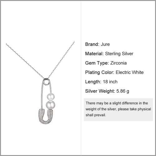 JURE S925 Solid Sterling Silver Chain Necklace Pin-shaped The One Jewelry with Two Pearls Zirconia 18 Inch