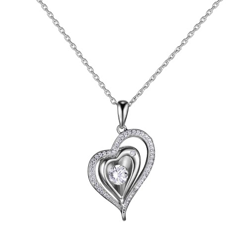 JURE moda S925 Sterling Silver Ciondolo ruotabile Zirconia Sparkle ciondolo a forma di cuore collana da 18 pollici