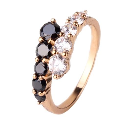 Moda estilo único hermoso simulado chapado en oro cristal Rhinestone anillo accesorio de la joyería para mujeres niñas novia regalo fiesta oro