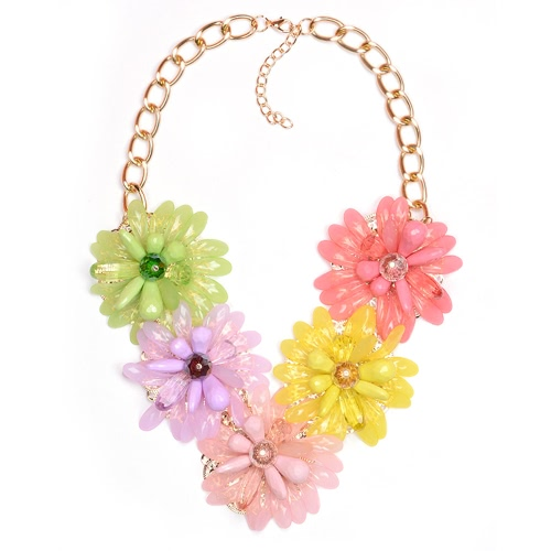 Mujer chica Vintage Retro flor girasol colgantes gargantilla collar cadena joyería para regalo de fiesta de boda