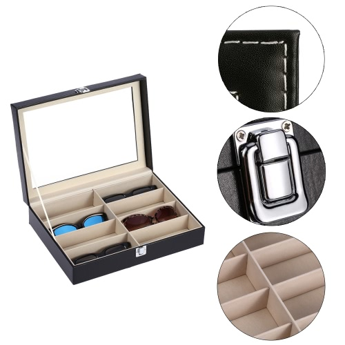 8-Slot Eyeglasses Display Box Sunglasses Storage Organizer with Clear Glass Lid Decent Storage & Organization Product