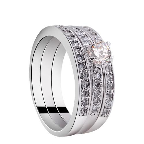 Moda Único Hot Charming branco banhado a ouro zircão Rhinestone cristal pavimentada 3 Rodada Anéis Set Acessório da jóia por Engagement partido do presente de casamento mulher menina