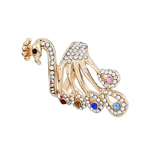 Pierścień damski dla kobiet Obrączka złocistego kryształów Rhinestones Peacock Design Metal Stop cynku
