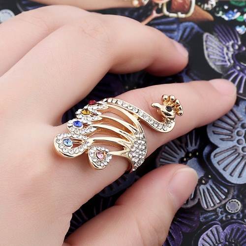 Girl Ring for Women Wedding Band Gold Plated Crystal Rhinestones Peacock Design Metal Zinc Alloy