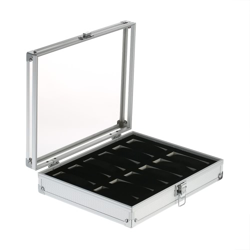 Luxo 12 Slot Relógio de alumínio Caixa de armazenamento Organizador para mulheres Acrylic Top Jewelry Display Case Gabinete
