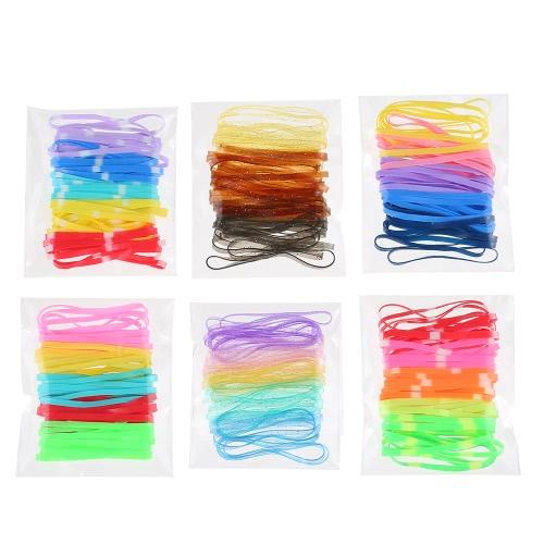 240Pcs Beleza Acessórios Baby Women Elastic Hair Rope Tie Rubber Hair Band Suporte de rabo de cavalo
