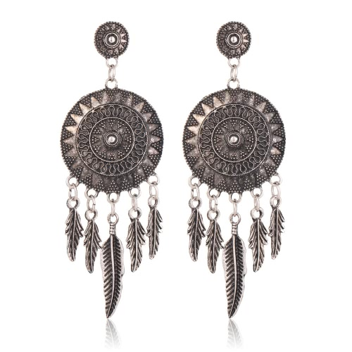 Moda retro étnica joyas pluma borla pendientes de gota redonda de flores para las mujeres accesorio