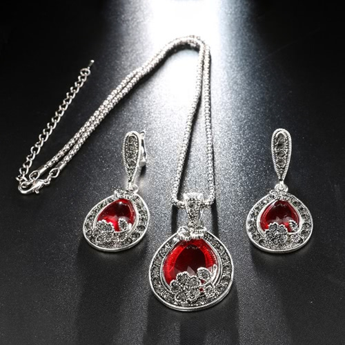 Moda Jóias Retro Water-drop Full Crystal Necklace Anel Brincos Exquisite Jewelry Set