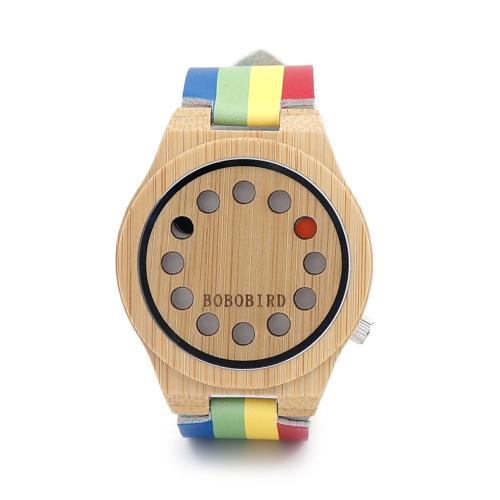 BOBOBIRD Einfache Bambus Uhr Unisex Quarzuhr Echtes Leder Holz Armbanduhren Männer Frauen