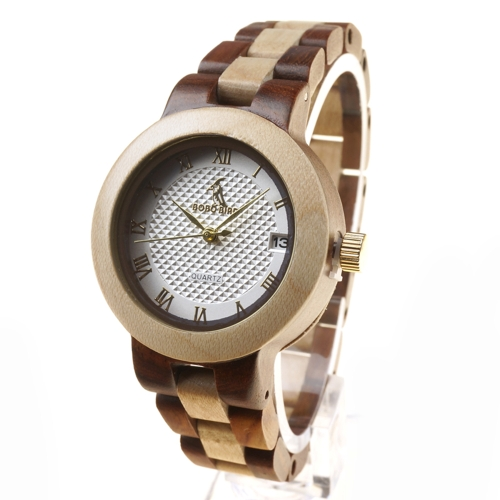 BOBOBIRD Fashion Simple Red Sandalwood Women Relojes Cuarzo de madera Casual Reloj de pulsera de arce Mujer Calendario