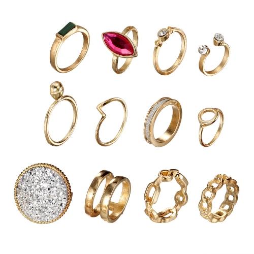 Art und Weise Retro- geschnitzter runder Diamant 12Pcs der Ringe stellten Kombination übertriebene Verbindungs-Ringe ein