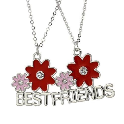 2pcs flores rojas combinación collares Set 'mejores A amigos' colgantes pulseras personalizadas regalo de joyería fina 45cm