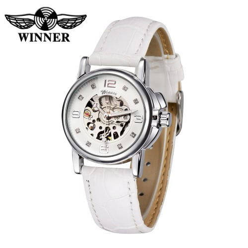 Gewinner Fashion OL Stil hochwertige ausgehöhlte Automatik automatische mechanische Damen Armbanduhr