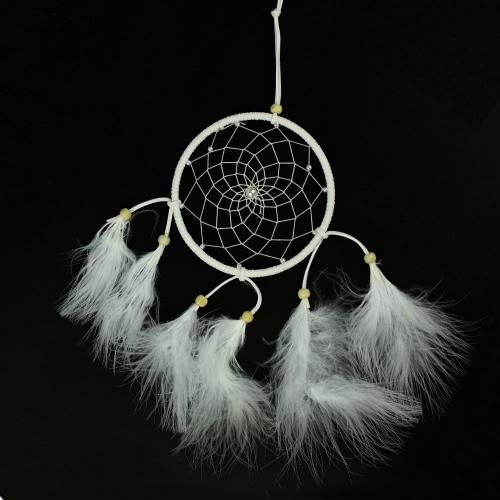 Reine Handarbeit weißen Federn Dream Catcher Anhänger mit kreisförmigen Net Holzperlen Türkei Flaum Auto Charme Windspiel indischen Stil