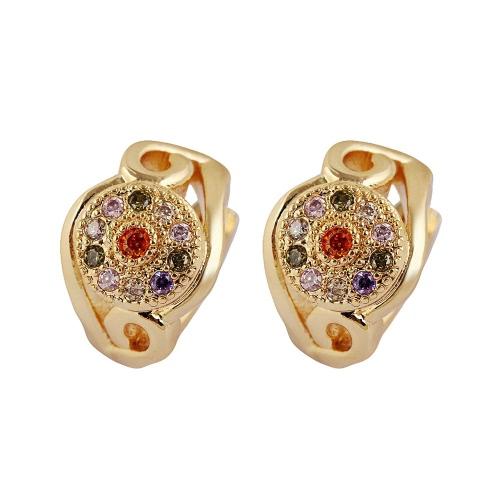Moda étnica luxuoso 18K ouro chapeado colorido Cristal strass aro brinco jóias para festa de casamento de garota de mulheres