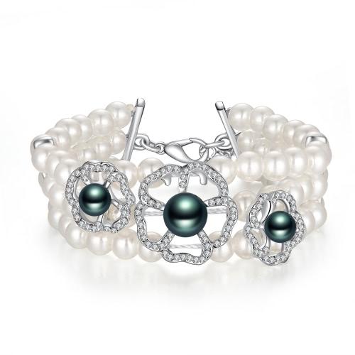 Viennois Fashion Elegant Beads White Gold Plated Bangle Women Bridal Wedding Jewelry Accessory Gift