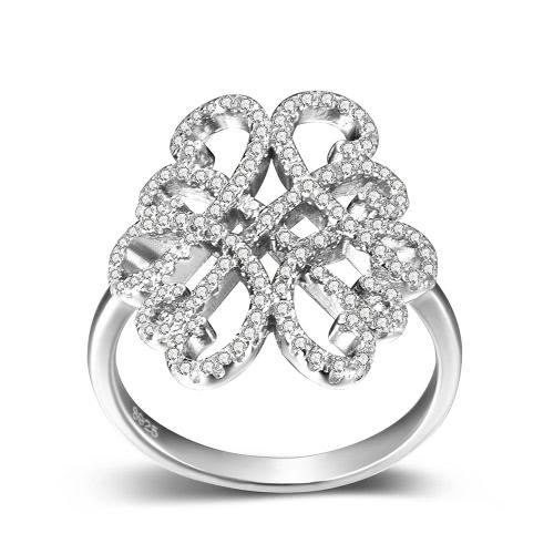 JURE 925 Srebrny Pierścień cyrkonu Engagement Wedding Ring Wniosek Bridal Halo Zamiennik