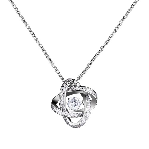 JURE Fashionable S925 Sterling Silver Pendant Rotatable Zirconia Sparkle Pendant Rose-shaped Necklace 18 Inch