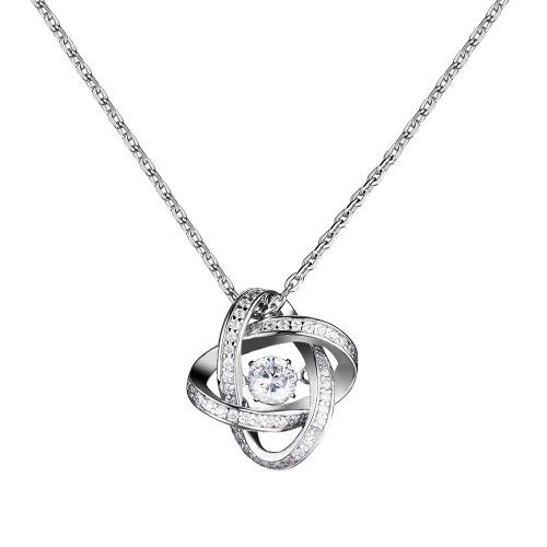 JURE moda S925 prata esterlina rotativo Zirconia faísca de pingente de rosa em forma de colar 18 polegadas