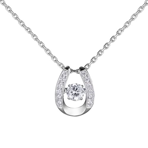 JURE Fashionable S925 Sterling Silver Pendant Rotatable Zirconia Sparkle Pendant Necklace 18 Inch
