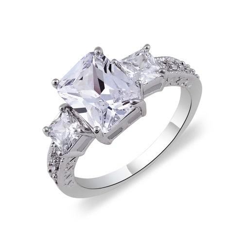 Moda Unique Hot Charm White Gold Plated Prostokąt Cyrkon Rhinestone Kryształ Pierścień biżuteria akcesoria dla kobieta dziewczyna prezent ślubny Stronę