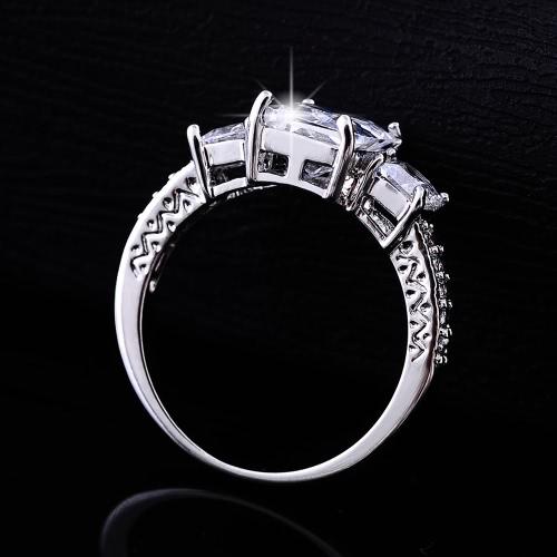 Мода уникальный шарм горячего белого золота гальваническим Прямоугольник Циркон горный хрусталь кристаллическое кольцо ювелирных аксессуаров для женщина девушка подарка венчания партии