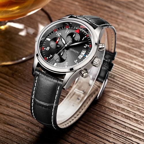 SONGDU Edelstahl / echtes Leder Herren Business Uhren + Box